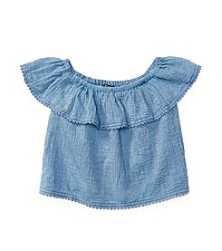 Polo Ralph Lauren® Girls' 2T-6X Ruffled Chambray Top