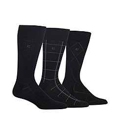 Chaps® 3-Pack Dashed Windowpane Dress Socks
