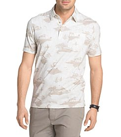 Van Heusen® Men's White Washed Printed Self Collar Polo