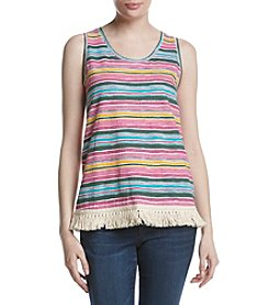 Ruff Hewn Striped Frayed Hem Tank