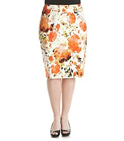 Kasper® Plus Size Scuba Slim Skirt