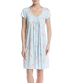 Miss Elaine® Pleated Printed Night Gown