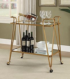 Linon Home Decor Products, Inc. Gold Mid-Century Bar Cart