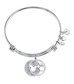 Disney® Adjustable Wire Bangle Mickey and Minnie Pave