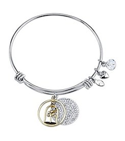 Disney® Pave Two Tone Beauty And The Beast Adjustable Wire Bangle