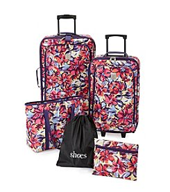 Travel Quarters Water Floral 5-Pc. 2-wheeled Luggage Set