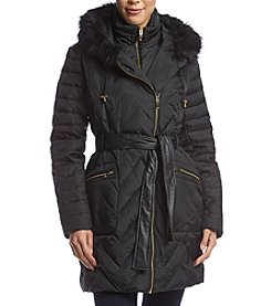 Via Spiga® Asymmetrical Zip Coat With Faux Fur Hood