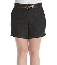 One 5 One® Plus Size Belted Shorts