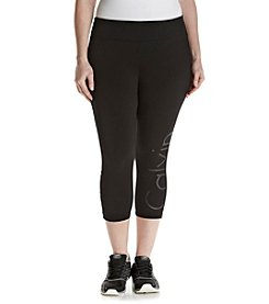 Calvin Klein Performance Plus Size Cut Off Logo Crop Leggings