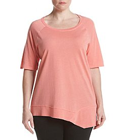 Calvin Klein Performance Plus Size Distress Wash Tunic With Asymmetric Hem