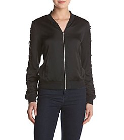 Kensie® Lace-Up Sleeve Bomber Jacket