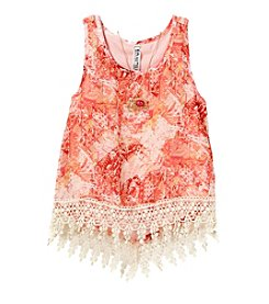 Beautees Girls' 7-16 Hi-Lo Lace Tank