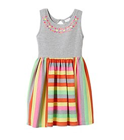 Sweet Heart Rose® Girls' 2T-6X Jersey Dress W/ Striped Skirt