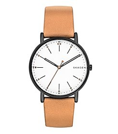 Skagen Men's 40mm Signatur Black Stainless Steel Watch with Blonde Leather Strap