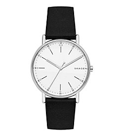 Skagen Men's 40mm Signatur Stainless Steel Watch with Black Leather Strap