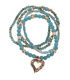 L&J Accessories Turquoise Genuine Stone Multi Row Stretch Bracelet With Heart Charm