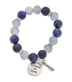 L&J Accessories Glass And Beads Stretch Bracelet With Key Disc Charm