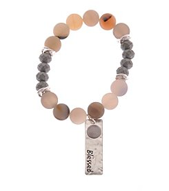 L&J Accessories Natural Genuine Stone Stretch Bracelet With Blessed Charm