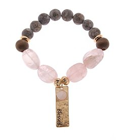 L&J Accessories Glass And Wood Bead Genuine Stone Blessed Charm Stretch Bracelet