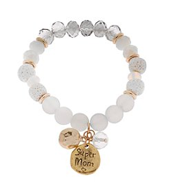 L&J Accessories Natural Genuine Stone Mom Charm Stretch Bracelet