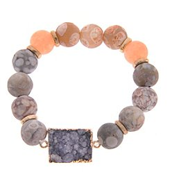 L&J Accessories Genuine Stone Druzy Stone Stretch Bracelet