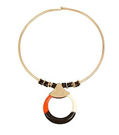 Robert Lee Morris Soho™ Colorblocked Circle Pendant Wire Collar Necklace