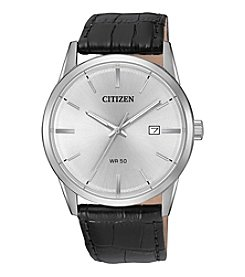Citizen® Men's Quartz Case And Black Leather Strap Watch