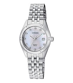 Citizen® Sterling Silver Mother Of Pearl Dial Watch