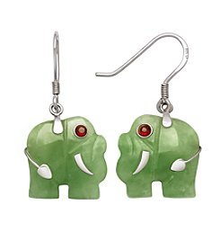 Sterling Silver Jade Elephant Earrings