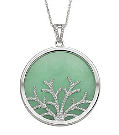 Sterling Silver Branches & Jade Pendant Necklace
