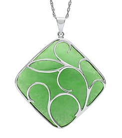 Sterling Silver Leaf Design & Jade Pendant Necklace