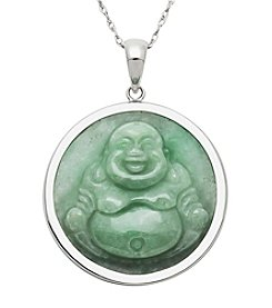 Sterling Silver Jade Buddah Pendant Necklace
