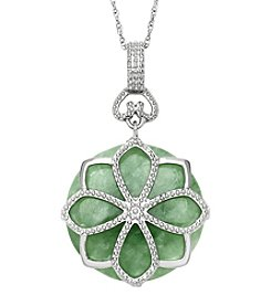 Sterling Silver Flower Design & Jade Pendant Necklace