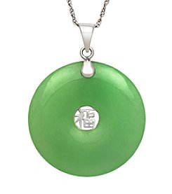 Sterling Silver Chinese Character & Jade Pendant Necklace