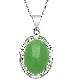 Sterling Silver Greek Key & Jade Oval Cabochon Pendant Necklace