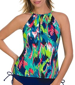 Caribbean Joe® Bluff High Neck Cutout Tankini Top
