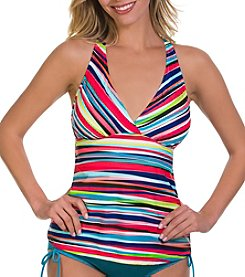 Caribbean Joe® Bimini Wall V-Neck Tankini Top