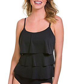 Caribbean Joe® Solid Tier Tankini Top