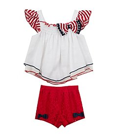 Rare Editions® Baby Girls' Flutter Sleeve Top with Lace Bottom Set