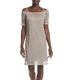 R&M Richards® Petites' Goldtone Cold Shoulder Dress