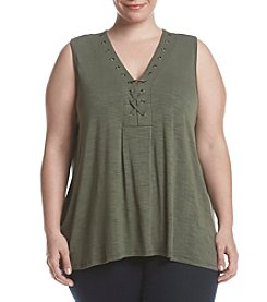 Cupio Plus Size Eyelet Lace Up Tunic