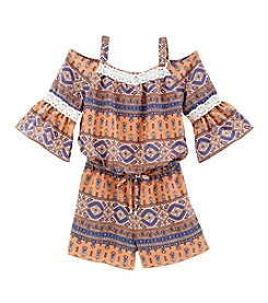 Sequin Hearts® Girls' 7-16 Lace Trim Cold Shoulder Romper