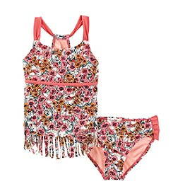 Jessica Simpson Girls' 7-16 Two Piece Floral Tankini Set