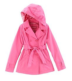 London Fog® Girls' 7-16 Solid Double-Breasted Trench Coat