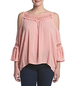 A. Byer Plus Size Ruffle Cold-Shoulder Top