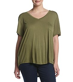 Eyeshadow® Plus Size V-Neck Swing Tee