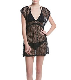 Miken® Ruched Crochet Cover-Up Dress