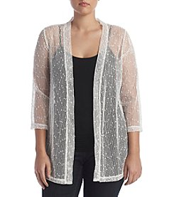 Nina Leonard Plus Size Mesh Sequin Shrug