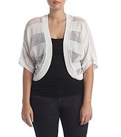 Nina Leonard Plus Size Crochet Shrug