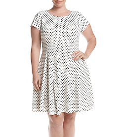 Gabby Skye® Plus Size Off White Short Sleeve Dot Scuba Dress